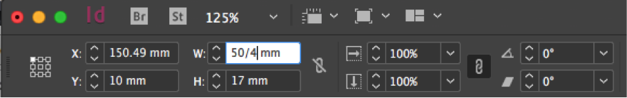Using a fraction as the width in Adobe InDesign