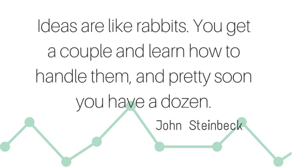 """Ideas are like rabbits"" quote - John Steinbeck"