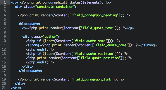 Some example template markup from paragraphs-item--quote.tpl.php
