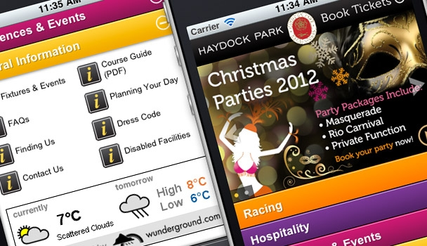 Haydock Park pages on mobile