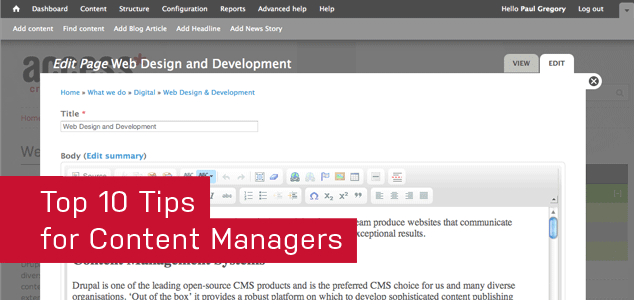 Top 10 tips for Content Managers banner