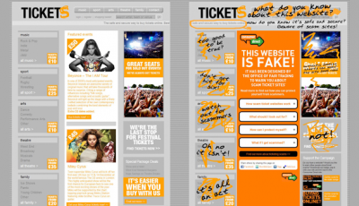 Fake tickets webpage