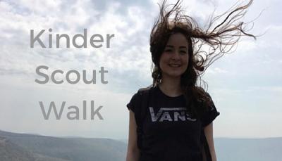 Rachel Nicholas on top of Kinder Scout