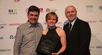 Andy Burnham, winner Kirsty Rowlinson-Groves and Access' Phil Fraser