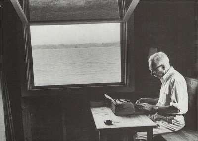 E B White at his desk