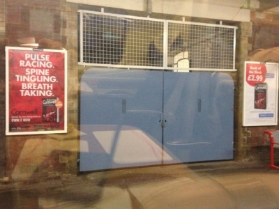 Posters outside Stockport station