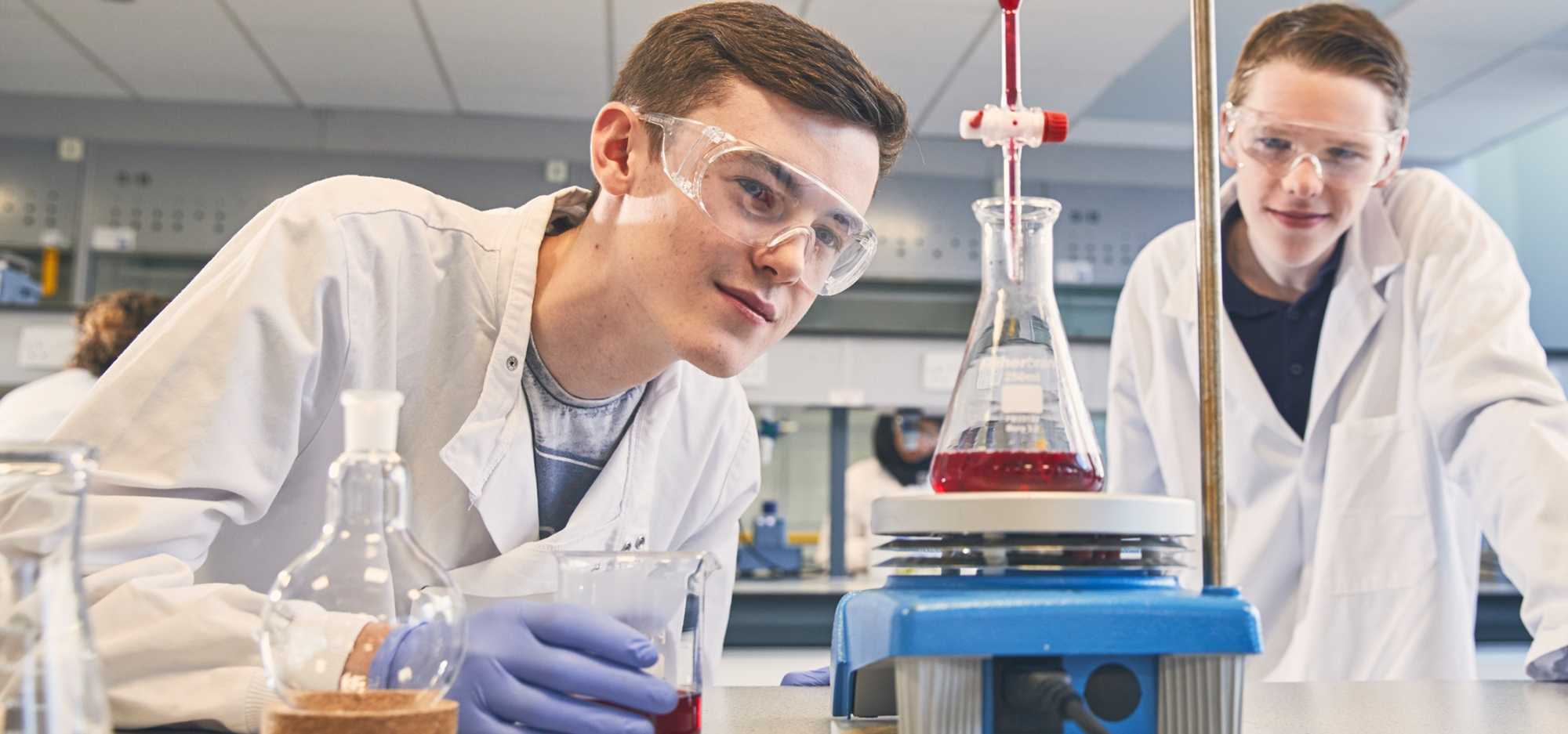 Two students in a UCLan Science Lab