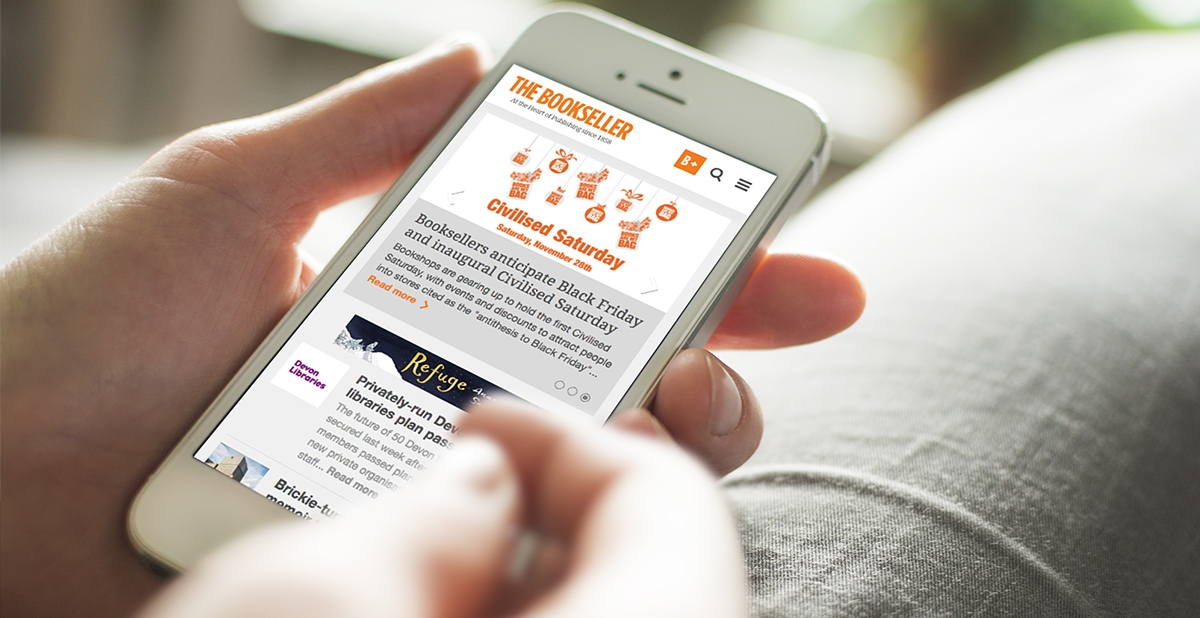 Website design for The Bookseller on mobile