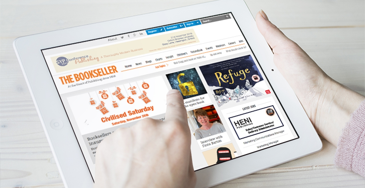 Website design for The Bookseller on tablet