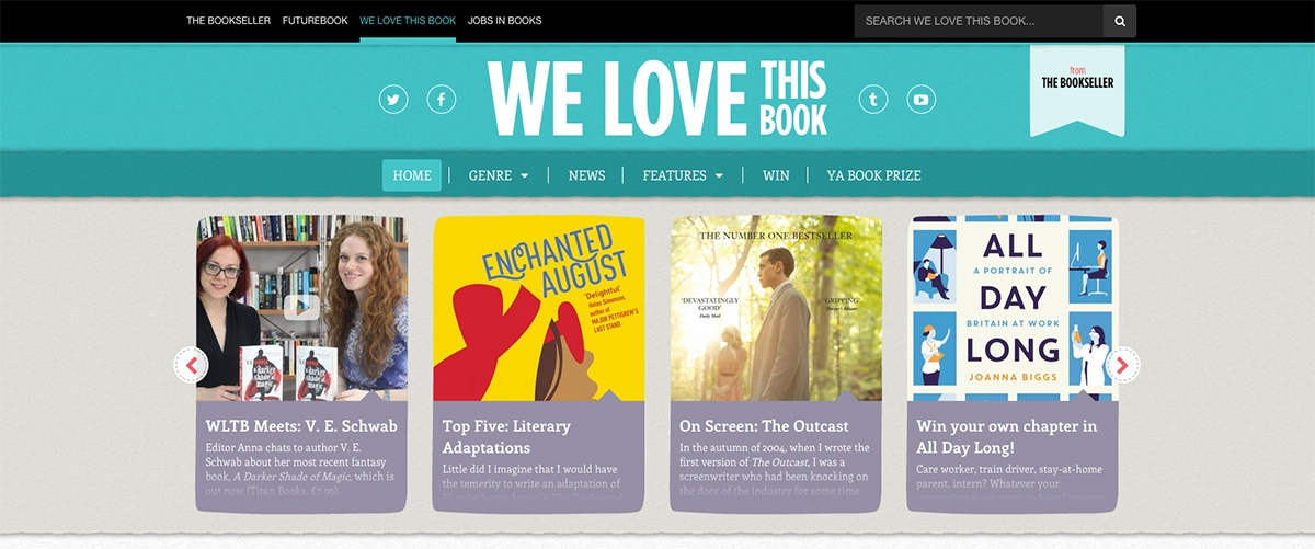 "Website design for The Bookseller's ""We love this book"""
