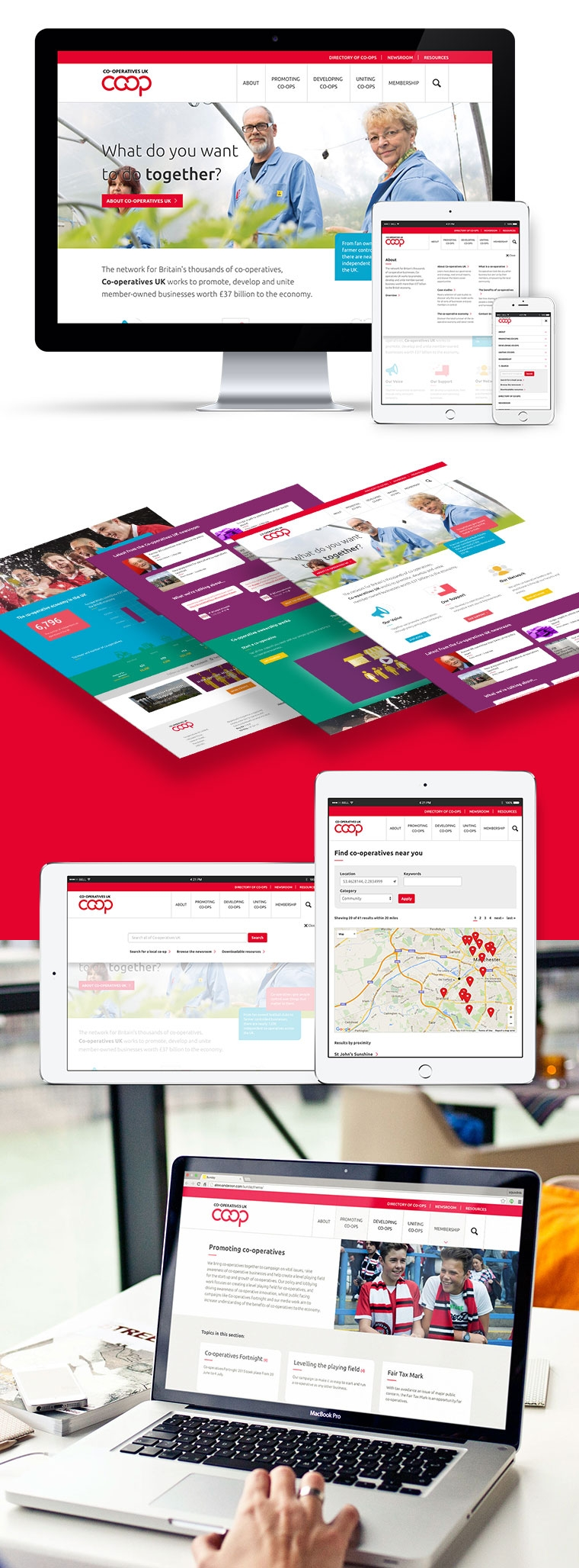 Coop case study - webpages on different devices and designs