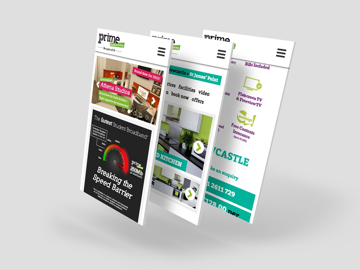 Prime Student Living website mobile design