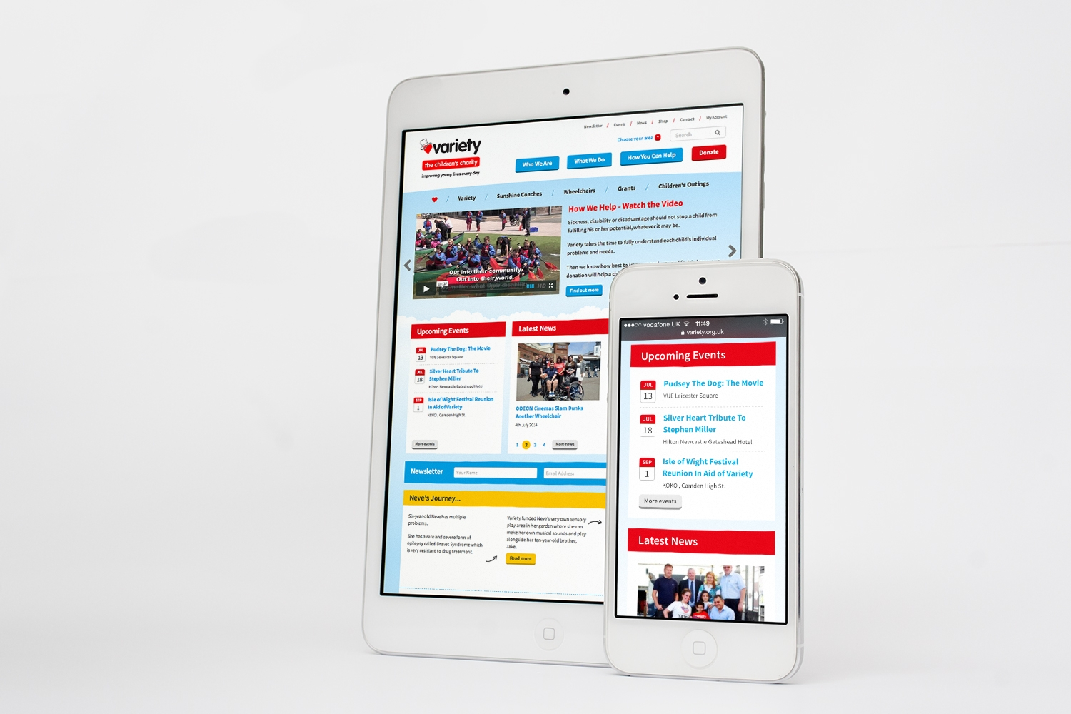 Variety website on tablet and phone