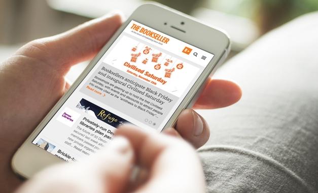 Website design for The Bookseller on mobile